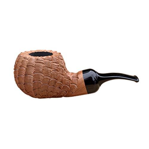 LIULU Talla Pipa Wenwan Pipas de Tabaco Hecha a Mano de Madera Briar clsico de los Hombres de a Puede ser Decorado y recogidos (Color : Primary Color)