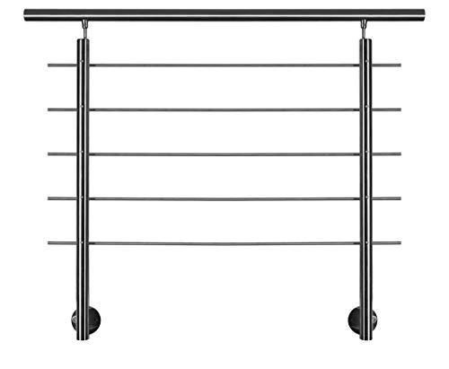 Geländer-Basis-Set in Edelstahl zur seitlichen Montage mit Überkletterschutz