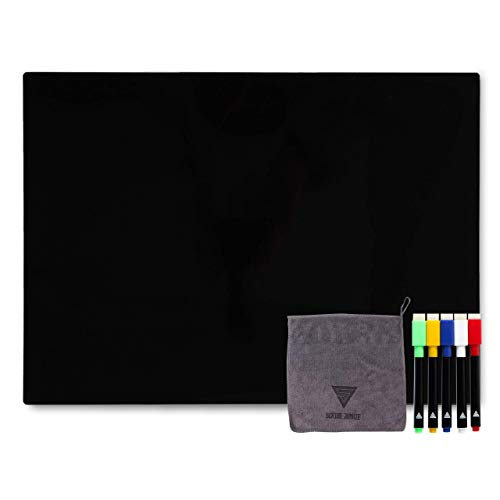 Black Dry Erase Board for Fridge - Engineered for Stylish Functionality - Magnetic Chalkboard and Markers -Great as a Refrigerator Menu List, Calendar, or Blackboard for a Message or Reminder