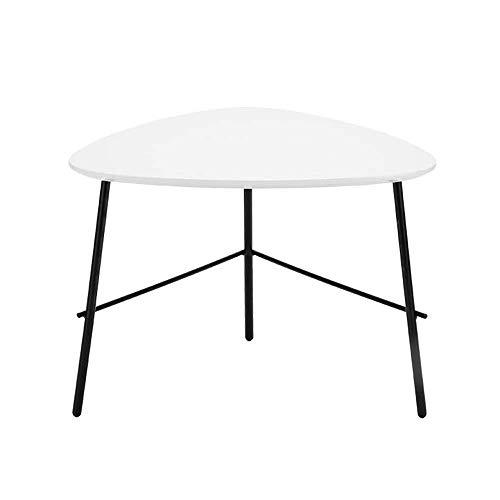 BinLZ-Table Moderner Dreieckiger Kaffee-Esstisch aus MDF, Beistelltisch im Wohnzimmer, Holz, Weiß, 24,4 X 20 X 17,7 cm