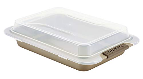 Anolon Bronze Nonstick Baking Pan With Lid, Rectangle - 9 Inch x 13 Inch, Brown