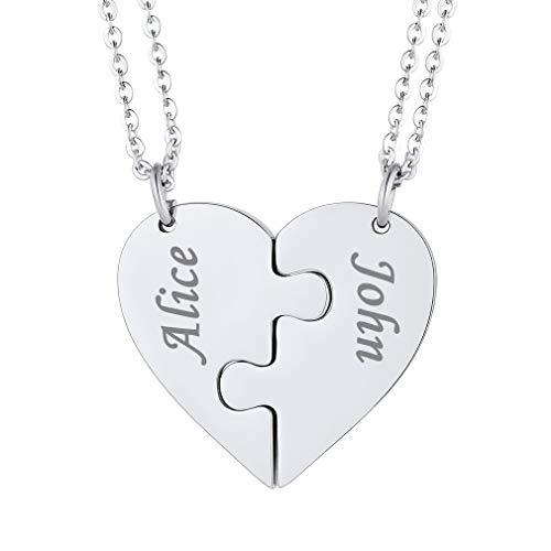 Custom4U Colgantes de Pareja Personalizados Corazón Rompecabezas Acero Inoxidable 316L Plateado Collar Puzzle Dos Piezas Nombres Grabados para Hermanas