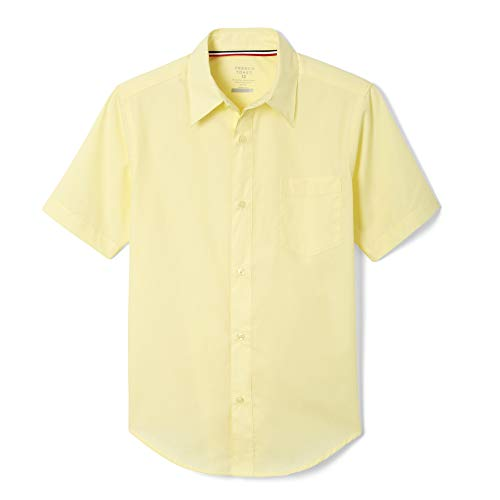French Toast Big Boys Short Sleeve Classic Dress Shirt, Yellow, 16