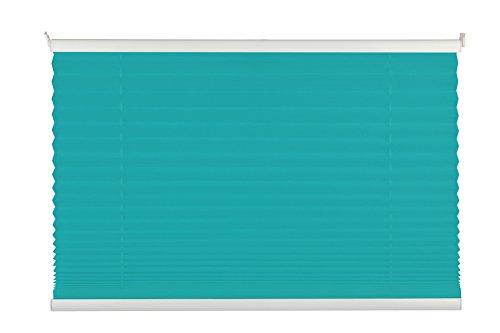 mydeco - Veneziana plissettata, montaggio senza forare, persiana avvolgibile per interno incl. morsetto di fissaggio, protegge dal sole e da sguardi indiscreti, per finestra, Alluminio Tessuto Poliestere, Blau, 80x130 [BxH]