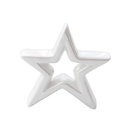 LIOOBO Adorno de Navidad figuras de cerámica decoración en forma de estrella regalo para decoración del hogar (blanco)