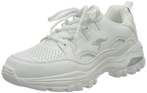 KangaROOS KW-Birdy, Zapatillas Mujer, Blanco y Plateado, 40 EU