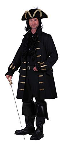 T1860-0100-XXL schwarz Herren Piraten Jacke lang Barock Mantel Gr.XXL