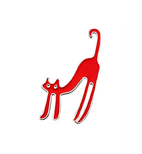 Lizzyoftheflowers - Rood Emaille kat Broche Tas hag pin