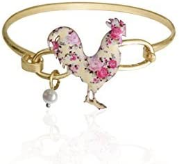 Wonderent Floral Print Rooster Charm Bracelet - One Size Fits Most - Country Chic Style for Birthdays or as Stocking Stuffers