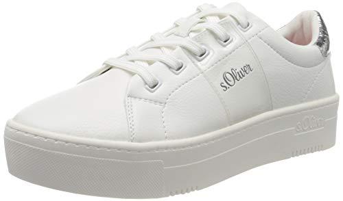 s.Oliver Damen 5-5-23628-24 Sneaker, Weiß (White/Silver 193), 39