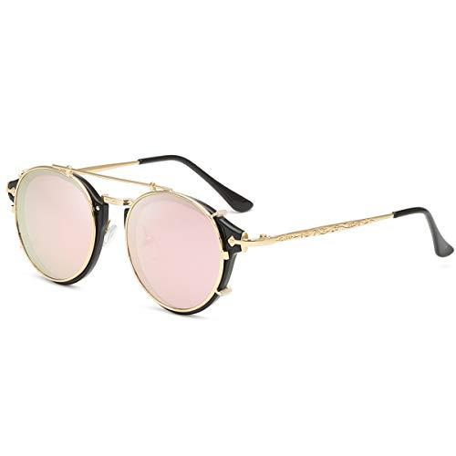 Dollger - Gafas de sol con doble lente, sin tapa, redondas, estilo Steampunk, para hombres y mujeres, (Monture Dorée + Lentille Rose), Convient à toutes les formois de visage