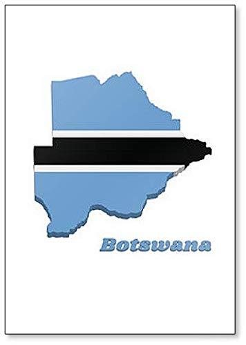 Kühlschrankmagnet, Motiv Landkarte & Flagge von Botswana