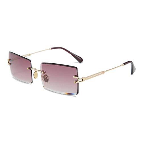 ZZOW Gafas De Sol Graduadas Rectangulares Populares Ins De Moda para Mujer, Gafas De Sol Sin Montura Uv400, Gafas De Sol para Mujer