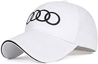 Wall Stickz BearFire Logo Embroidered White Color Adjustable Baseball Caps for Men and Women Hat Travel Cap Racing Motor Hat fit Audi(Without Letter) Accessory