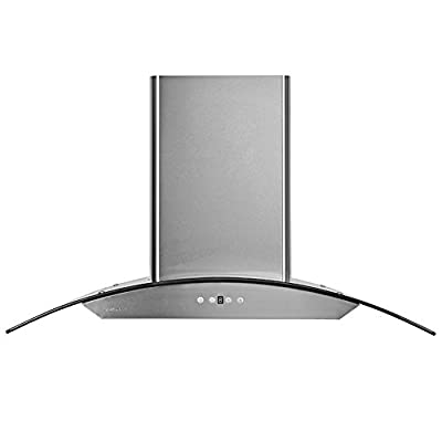 Cavaliere 42W in. Tempered Glass Canopy Wall Mounted Range Hood