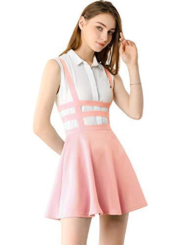 Allegra K Falda Mini con Tirantes Cintura Elástica Falda Acampanada Recortada Corte A-Línea para Mujer Rosa S