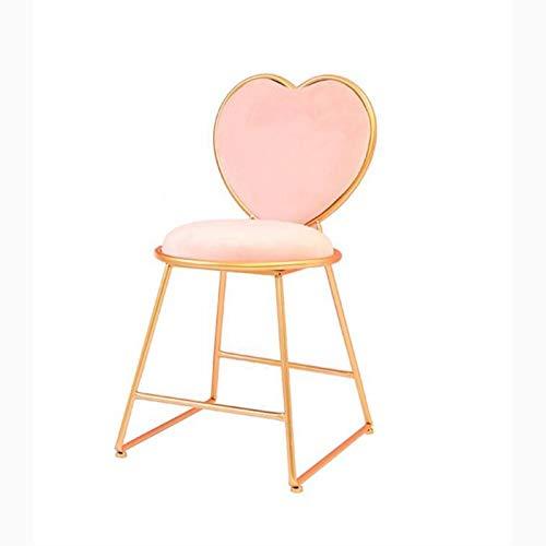 Créativité Tabouret de Bar, Coiffeuse Chaise Nail Tabouret Café Restaurant Chaise Lounge Fer Art Fauteuil En Forme de Coeur Chaise Décorative 40 * 40 * 80CM (Couleur : Rose)