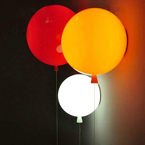 GUANSHAN Lampada da parete moderna a palloncino colorato 20CM, illuminazione decorativa da parete per bambini con interruttore a stringa per ragazze, con lampadina da 5W