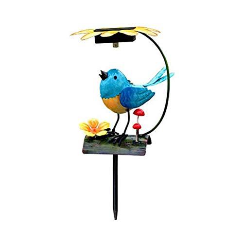 WINBST Luces solares de jardín, luz LED blanca cálida, diseño de rana y pájaros, figura decorativa, control automático de la luz, decoración para jardín, decoración de jardín