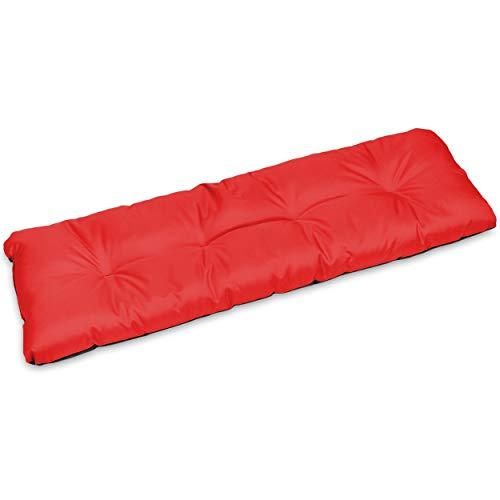 SuperKissen24. Cuscino Lungo per Panchina da Giardino 120x38 cm Resistente e Comodo per Panca da Esterno ed Interno - Rosso