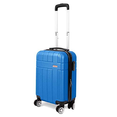 Cabin Bag Luggage by Humlin | 4 Wheel Suitcase | Ryanair Easyjet Ba Flybe TUI Jet 2 | Colourful (Blue Skies)