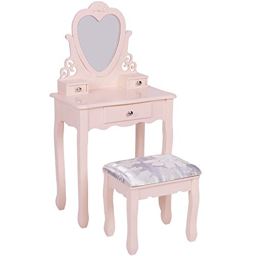 Girls Dressing Table with Mirror and Stool, Kids Wooden Vanity Table with Heart Mirror and 3 Drawers, Children's Makeup Table for age 3-12, Pink