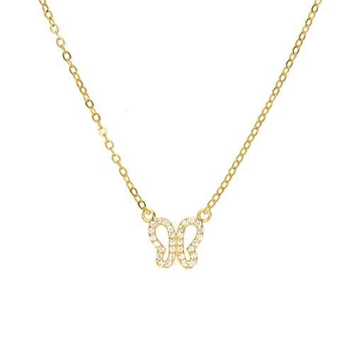 YHHZW Collar Mujeres Maxi Collar Collier Collares Recién Llegado Dainty Delicate Butterfly Charm Cadena Fina Collar De Plata 925-Rose_Gold_Color