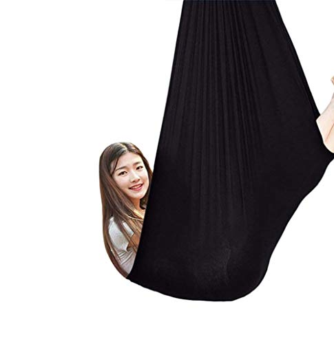 Indoor Sensory Swing for Kids with Sensory Special Needs Soft Hammock Children Great Autism ADHD Aspergers and SPD Has A Calming Effect On (Color : Black, Size : 100x280cm/39x110in)