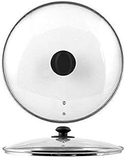 HOME - Tapa de Cristal de 36 cm de diámetro con Borde de Acero Inoxidable, Color Transparente y Negro