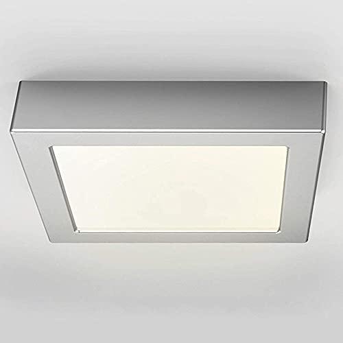 FactorLED Plafón Superficie LED Cuadrado 20W Osram, Lámpara Techo y Pared, Marco Plata, Luz Seleccionable en cálida, natural o fría desde su interruptor (3000K-4000K-6000K) (20)