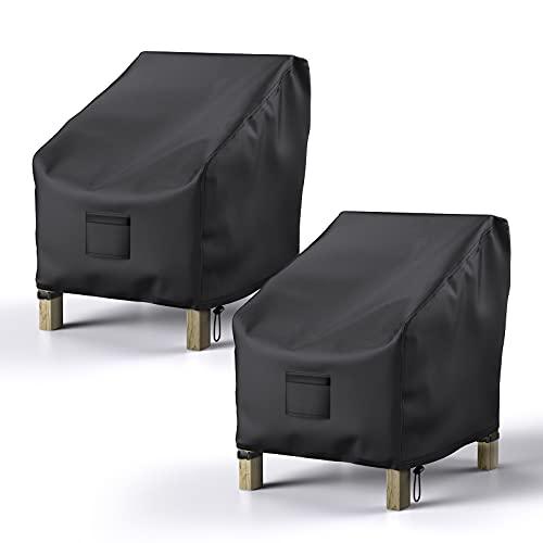 야외 가구 방수 2팩용 브로시다 파티오 의자 커버 잔디 의자 커버 600D 무거운 옥스퍼드 클로스 라운지 로른 딥 시트 블랙용 대형 커버 38W X 31D X 29H
