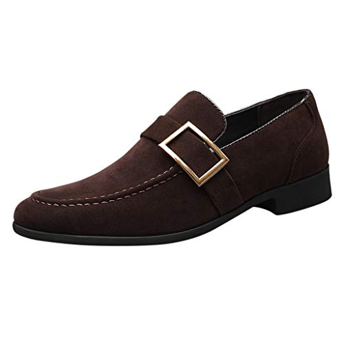 YWLINK Calzado De Negocios para Hombre,Hebilla De CinturóN, Zapatos Casuales De Ante,Calzado De Senderismo,Zapatos De Guisantes Mocasines,Gran TamañO Zapatos De Cuero para Hombres(café,41EU)