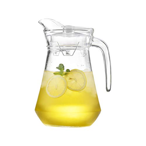 hongbanlemp iced tea pitcher Glass Pitcher With Spout and Lid Drip-free Glass Carafe With Anti-scalding Handle Used for Juice, Iced Tea, Homemade Beverages Cold Teakettle
