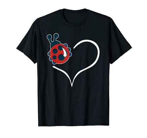 Traje de caza de insectos lindo corazn de mariquita para mujeres Camiseta