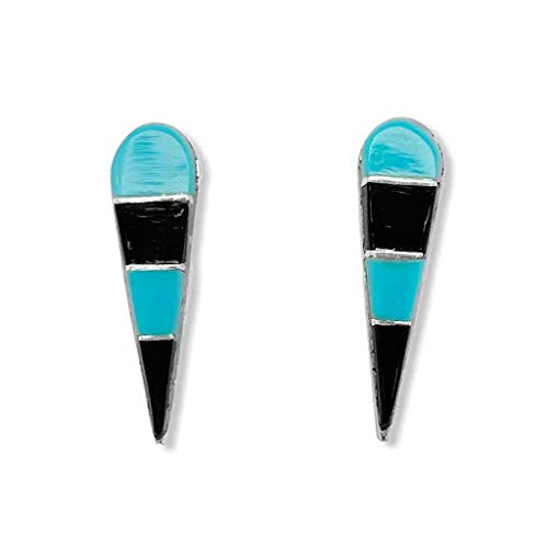with inlay of turquoise and onyx Vintage native american round screw back earrings  sterling silver