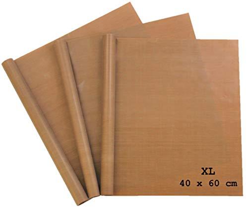 MP Produkt Premium Dauerbackfolie (3er Set) extra Groß zum Grillen und Backen - 3 Stück 40x60 cm zuschneidbar - Backfolie Spülmaschinenfest - Backpapier wiederverwendbar - Dauerbackfolie für Backofen