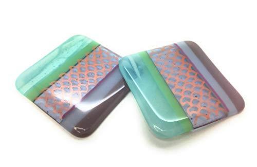 Untersetzer in Meerjungfrau, 2 Stück – Set – Fusing-Glaskunst handgefertigt in Großbritannien – kostenlose Geschenkverpackung – Lovely Teachers Gift