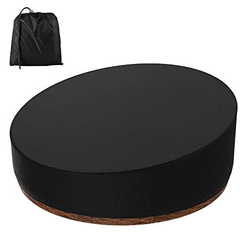 Patio Daybed Cover Round, Rattan Daybed Cover Waterproof Dustproof Patio Garden Furniture Covers with Storage Bag for Rattan Day Bed Sun Lounger (Black)
