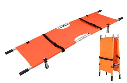 【LR.store】ステンレス製 二つ折り 担架 折りたたみコンパクト ベルト付 簡易ベット 防水 (オレンジ)