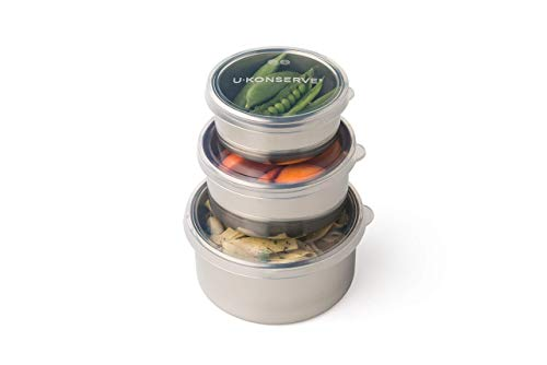 UKONSERVE Round Nesting Trio Stainless Steel Container Set of 3 - Clear Silicone Lids