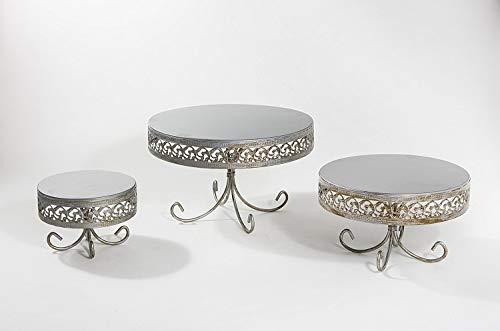 Opulent Treasures Cake Stand, Antique Silver, Set of 3, Metal, Wedding, Birthday,...