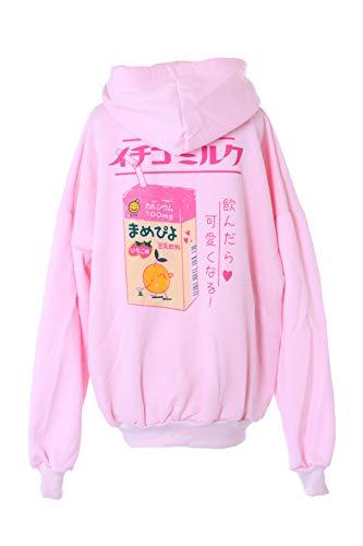 Kawaii-Story TS-117 Strawberry Milk Soja Erdbeer Drink Rosa Japan Schriftzeichen rosa Pastel Goth Lolita Pullover Kapuzen-Sweatshirt Harajuku