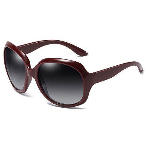 GUANGE Gafas de sol para mujer, de gran tamaño, polarizadas, protección UV400, gafas de sol para mujer, de gran tamaño, de moda, para conducir, regalos para damas, rojo vino