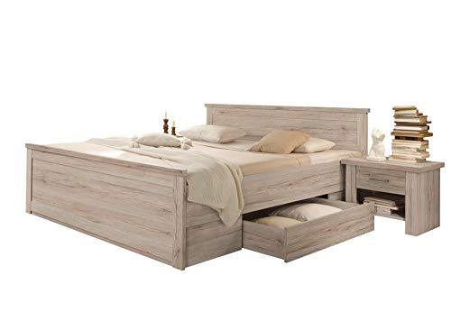 trend-moebel Bett Doppelbett Bettanlage 180x200 cm mit 2 Nachtkommoden Eiche Sanremo-hell Luca Komforthöhe
