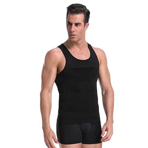 Men Slimming Body Shaper Waist Trainer Vest Tummy Control Posture Shirt Back Correction Tank Top Shapewear (Black,XXXL)
