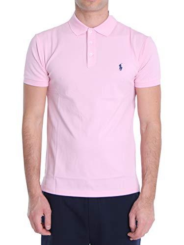 Ralph Lauren Mod. 710541705 poloshirt voor heren, elastisch, slim fit, roze