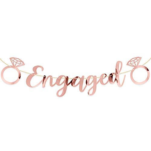 VINFUTUR Zaręczający chorągiewki baner brokatowe litery i diamentowy pierścionek baner ślub zdjęcie rekwizyty tło na oświadczyny zaręczyny przyjęcie dekoracje (różowe złoto)