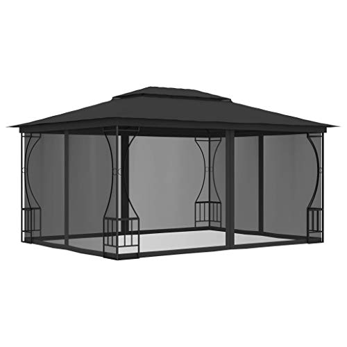 Irfora Gazebo with Curtains Party Tent with Side Panels Outdoor Shelter Weather Resistant 300x400x265 cm Anthracite