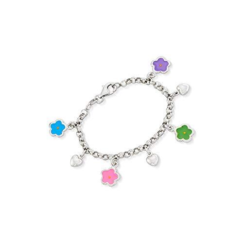 Ross-Simons Child's Sterling Silver and Enamel Flower Charm Bracelet