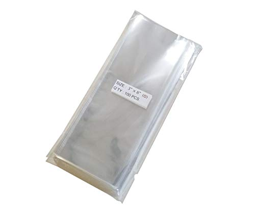 100 Pcs 3x8 (O) Clear Flat Cello Cellophane Bags Good for Bakery Cake Cookie Candies